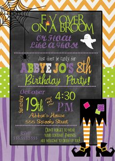 Halloween Party Invitation Kids Halloween Birthday Party Invitation on Etsy, $15.00