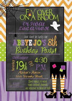 8a82bbae682113a934b66accc4e53c32 october birthday th birthday halloween birthday party invitation diy printable chevron chic,Cute Halloween Party Invitations