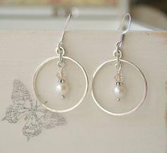 Boucles d'Oreilles en Argent Massif, Perles d'eau douce, Cristal de Swarovski, Ref 011
