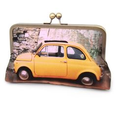 Clutch bag, yellow car, silk purse, YELLOW FIAT CAR featuring polyvore, fashion, bags, handbags, clutches, purses, accessories, bolsas, yellow purse, print handbags, silk handbags, kiss-lock handbags and kisslock handbags