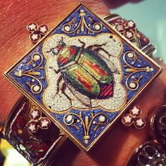 Victorian Micro mosaic and gold bracelet.