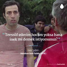 Teessüf ederim hocam yoksa bana inek mi demek istiyorsunuz? - İnek Şaban (Kemal Sunal, Hababam Sınıfı Tatilde, 1978) #sözler #anlamlısözler #güzelsözler #manalısözler #özlüsözler #alıntı #alıntılar #alıntıdır #alıntısözler #şiir #edebiyat #filmreplikleri #filmsözleri #film #kemalsunal