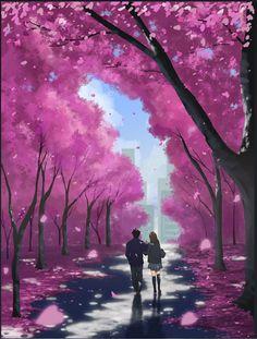 Dos estudiantes o pareja caminando por debajo de los cerezos.