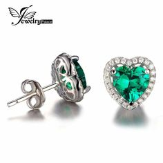 JewelryPalace Heart Of Ocean 2.2ct Created Green Russian Nano Emerald Love Forever Halo Stud Earrings Solid 925 Sterling Silver