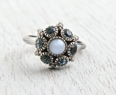 Vintage Avon Blue Rhinestone Ring - Adjustable Silver Tone 1970s Cluster Costume Jewelry / Moon Magic by Maejean Vintage on Etsy, $15.00