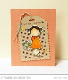 Stamps: PI Love You a Bunch, Itsy Bitsh Polka Dot Background  Die-namics: PI Love You a Bunch, Scallop Cross-Stitch Tag    Donna Mikasa    #mftstamps