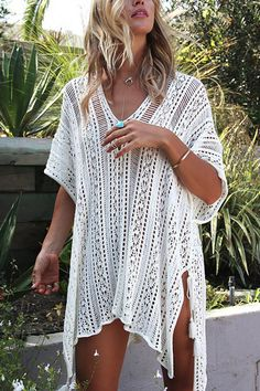 Delicate Crochet Hollow Overlay design Top in White
