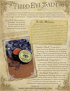 Third Eye Anointing Balm 1/4oz All Natural. Sandalwood & Dragon's Blood Charged with Amethyst Crystal. Psychic, Meditation, Ritual, Manifest AVAILABLE HERE: http://www.whitewitchparlour.com/product-p/teye1.htm