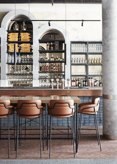 Hurricanes Grill Australia showing how bar design can be simple but huge on impact. I love these leather bar stools and the mirrored rear to the shelving