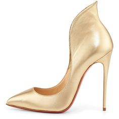 Christian Louboutin Mea Culpa Metallic Red Sole Pump, Light Gold ($895) ❤ liked on Polyvore featuring shoes, pumps, heels, sapato, christian louboutin, evening pumps, evening shoes, holiday shoes and christian louboutin shoes