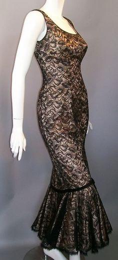 1950s mermaid hem black lace dress , DCV archives
