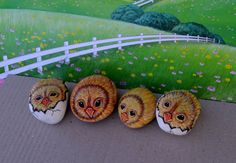 Easter Chicks Chicken Rock Art Hand Painted by AnimalArtDecor