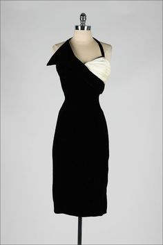vintage 1950s dress . black velvet . by millstreetvintage on Etsy