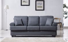 Madison Home USA Classic Plush Sofa Upholstery: Dark Grey Sofa Upholstery, Fabric Sofa, Linen Fabric, Living Room Sofa, Living Room Furniture, Sectional Sofa With Recliner, Couches, Sofas, Recliners