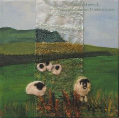 this is SO neat!!- acrylic paint, machine embroidery and needle felted sheep