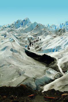 An expedition atop Perito Moreno glacier, in El Calafate, Patagonia, Argentine.