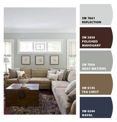 THIS is the color palette for the bedroom. Navy on one wall, grey on the others...brown, tan, and light blue accents.