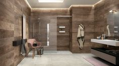 beautiful contemporary bathroom with glass enclosed shower