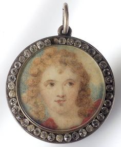 Miniature decorated with a portraitof Emma Hamilton Miniature Portraits, Working Woman, I Love Jewelry, Women In History, Hamilton, Vintage Jewelry, Lord, Museum, Jewels