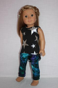 18 inch doll clothes, high low black tank top with silver stars, galaxy print leggings, Upbeat Petites by UpbeatPetites on Etsy