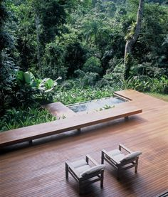 Carved out of the Brazilian jungle of Iporanga, Sao Paulo, Brazil, this beautiful tropical house designed by Architect Arthur Casas is his own dream home. Outdoor Rooms, Outdoor Gardens, Indoor Outdoor, Outdoor Living, Outdoor Decor, Outdoor Sheds, Landscape Design, Garden Design, Studio Arthur Casas