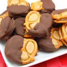 """Peanut Butter """"Buckeye"""" Pretzel Bites - 10/13: made these for our Halloween party. Not difficult but very delish! Would be a good gift idea around the holidays."""