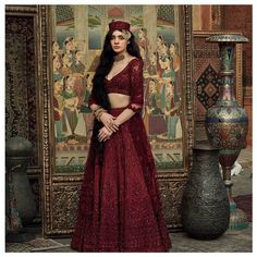 These Maroon Bridal Lehengas Are The New Bridal Color That You Must Consider. For more such bridal information, visit shaadiwish. Sabyasachi Lehenga Bridal, Latest Bridal Lehenga, Indian Bridal Lehenga, Indian Bridal Fashion, Indian Beauty Saree, Lehenga Color Combinations, Royal Blue Lehenga, Saree Trends, Pakistan Fashion