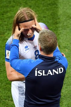 Iceland's midfielder Birkir Bjarnason receives medical attention after getting injured during the Russia 2018 World Cup Group D football match between Iceland and Croatia at the Rostov Arena in. World Cup Groups, Football Match, Fifa World Cup, Athletes, Iceland, Russia, Soccer, Medical, Sports
