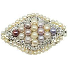 Edwardian Pearl Diamond Platinum Pin For Sale at 1stdibs
