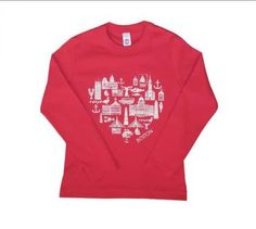 Sidetrack Red Boston Icon Tee Shirt - Boston love this Valentine's day