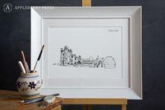Pen sketch depicting Cabra Castle located in Kingscourt, Co. Irish Wedding, Wedding Rsvp, Wedding Story, Hotel Wedding, Wedding Venues, Castle Illustration, Pen Illustration, Illustrations, Bespoke Wedding Invitations