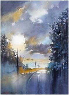 Road home thomas w schaller - watercolor inches 02 may 2015 watercolor sky, watercolor Art Aquarelle, Watercolor Landscape Paintings, Watercolor Artwork, Watercolor Artists, Watercolor Techniques, Landscape Art, Watercolor Scenery, Landscape Sketch, Watercolor Bird