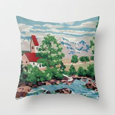 Buy Cross stitch Red RoofTops by Happy Red Fish Art as a high quality Throw Pillow. Worldwide shipping available at Society6.com. Just one of millions of…