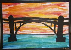 some of beautiful bridge silhouettes Lesson Background: My class have been engaged in a Technology unit for the past few week. Bridge Drawing, Line Drawing, Your Sky, Water Background, Led Pencils, Art Lessons Elementary, Autumn Art, Rectangle Shape, Art Classroom