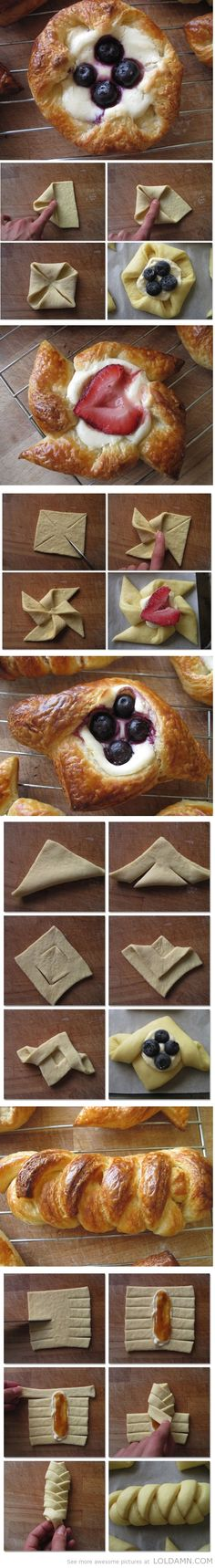 Cooking tips:Sourdough Danish Pastry Tutorials many shapes for desserts Just Desserts, Delicious Desserts, Dessert Recipes, Yummy Food, Mug Cakes, Snacks, I Love Food, Scones, Sweet Recipes