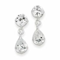Sterling Silver Clear CZ Dangle Earrings Goldfinger Jewelry. $14.95. Great for gifts. Sterling Silver. Post. Polished. Pear