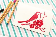 uguisu greeting card. bush warbler hand printed card. bird and ume blossom illustration. embossed in red color. wedding birthday invites by talktothesun on Etsy