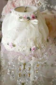 Handmade, Small Lace Lampshade with Ribbon by Jenneliserose~❥