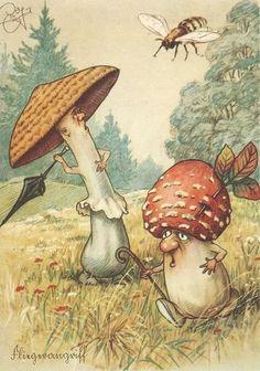 art Mushroom GNOME Fairy Fantasy postcard b Art And Illustration, Fantasy Kunst, Fantasy Art, Mushroom Art, Mushroom Spores, Photo D Art, Wow Art, Fairy Art, Magical Creatures