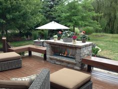 The wooden pergola is a good solution to add beauty to your garden. If you are not ready to spend thousands of dollars for building a cozy pergola then you may devise new strategies of trying out something different so that you can re Outdoor Decor, Large Backyard Landscaping, Deck Fireplace, Outdoor Rooms, Large Backyard, Linear Fireplace, Outdoor Wood, Backyard Fireplace