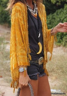 ad8a769a12c2 Boho chic velvet fringe jacket with modern hippie necklaces and chunky  silver belt buckle. happygolicky the-best-boho-chic-fashion -bohemian-jewelry-gypsy-  ...