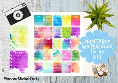 Assorted Watercolor TO DO List  Erin Condren by PlannerStickerLady