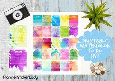 Assorted Watercolor TO DO List  Erin Condren by PlannerStickerLady