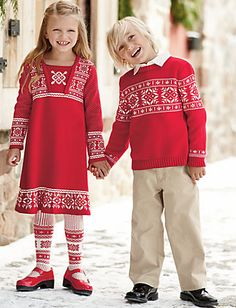 Hanna Andersson Red Ski Sweater - Christmas outfit for Zander - My kids would refuse. Boy Fashion, Winter Fashion, Scandinavian Kids, Baby Pop, Matching Pjs, Celebrity Kids, Dress Picture, Hanna Andersson, Celebrity Dresses