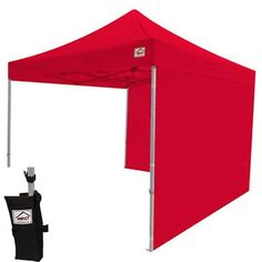 Impact Canopies 10 by 10 Inch Gazebo with Sidewalls, Weight Bags, and Roller Bag - Red ** For more information, visit image link.