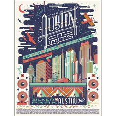 GORGEOUS everything. color scheme, font, angle-love this. 2012 Commemorative ACL Festival Poster