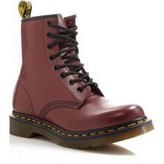Dr. Martens 1460 Lace Up Boots (455 RON) ❤ liked on Polyvore featuring shoes, boots, cherry, real leather lace up boots, laced up boots, grunge boots, real leather boots and genuine leather lace up boots
