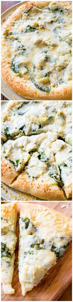Spinach Artichoke White Cheese Pizza. - Sallys Baking Addiction