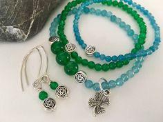 Jade & Amazonite Irish Bracelet(s) & more. https://www.etsy.com/listing/268309258/sale-10-off-green-jade-aqua-amazonite #spring #jewelry #etsymntt #mothersday
