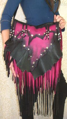 "Artisan Fringe Leather Designer Handbag ""DARK CRYSTALS"" Hobo Bag Hot Pink and Black Fringed Deerskin Purse Handmade by Debbie Leather"